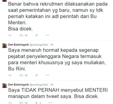 Klarifikasi @estiningsihdwi via twitter